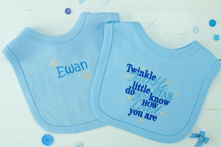 Personalised Baby Bib Set